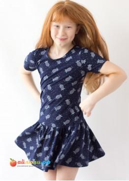 """3054 """"Мышки"""" платье (кулирка)"""